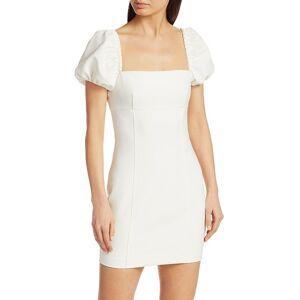 Cinq à Sept Women's Havana Puff-Sleeve Mini Dress - Ivory - Size 14  Ivory  female  size:14
