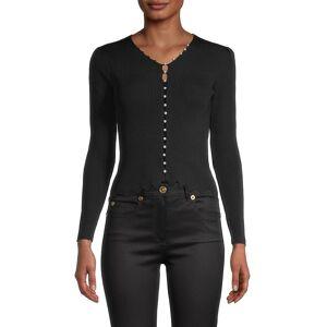 Avantlook Women's Faux-Pearl Buttoned Top - Black - Size M  Black  female  size:M
