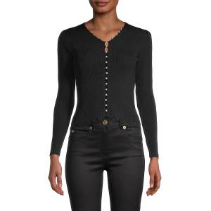 Avantlook Women's Faux-Pearl Buttoned Top - Black - Size L  Black  female  size:L