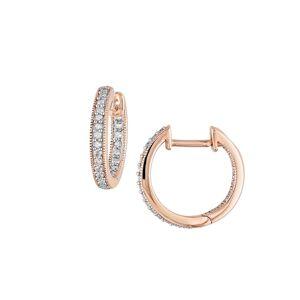 Sonatina Women's 14K Pink Gold & Diamond Hoop Earrings  Pink  female  size:one-size