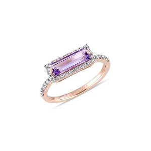 Saks Fifth Avenue Women's 14K Rose Gold, Amethyst & Diamond Ring - Size 6  Amethyst  female  size:6