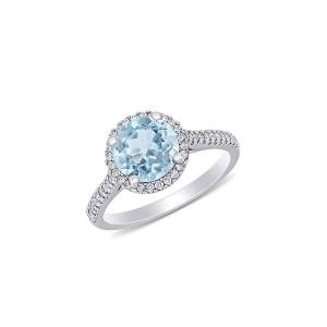 Saks Fifth Avenue Women's 14K White Gold, Aquamarine & Diamond Halo Engagement Ring - Size 6  Aquamarine  female  size:6