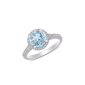 Saks Fifth Avenue Women's 14K White Gold, Aquamarine & Diamond Halo Engagement Ring - Size 7  Aquamarine  female  size:7