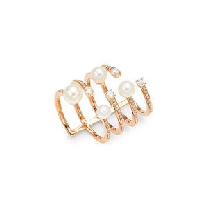 Hueb Women's Spectrum 18K Rose Gold, Diamonds & White Pearl Ring - Size 7  Rose Gold  female  size:7