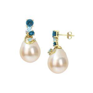 Saks Fifth Avenue Women's 14K Yellow Gold, Pearl, Blue Topaz & Diamond Drop Earrings  Blue  female  size:one-size