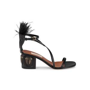 Valentino Garavani Women's Emu Feather & Brass-Embellished Sandals - Nero - Size 40 (10)  Nero  female  size:40 (10)