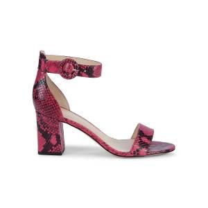 Marc Fisher LTD Women's Snakeskin-Print Leather Ankle-Strap Sandals - Pink - Size 5  Pink  female  size:5