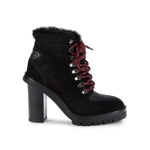 Valentino Garavani Women's Shearling-Lined Block-Heel Booties - Nero - Size 37.5 (7.5)  Nero  female  size:37.5 (7.5)