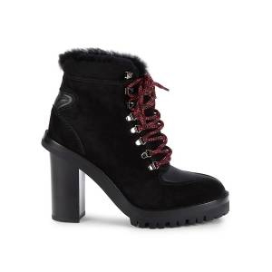 Valentino Garavani Women's Shearling-Lined Block-Heel Booties - Nero - Size 39 (9)  Nero  female  size:39 (9)