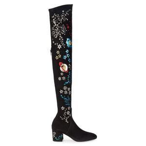 Valentino Garavani Women's Metallic Mixed-Print Suede Over-The-Knee Boots - Nero Multi - Size 37.5 (7.5)  Nero Multi  female  size:37.5 (7.5)