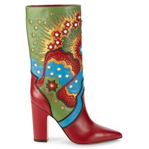 Valentino Garavani Women's Embellished Leather Boots - Scarlet Multi - Size 38 (8)  Scarlet Multi  female  size:38 (8)