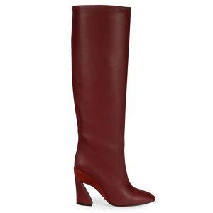 Salvatore Ferragamo Women's Leather Knee-High Boots - Burgandy - Size 7  Burgandy  female  size:7