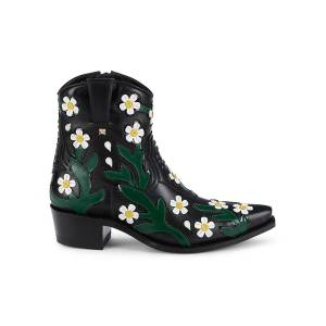 Valentino Garavani Women's Floral Leather Western Booties - Black White - Size 37 (7)  Black White  female  size:37 (7)