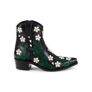Valentino Garavani Women's Floral Leather Western Booties - Black White - Size 36 (6)  Black White  female  size:36 (6)
