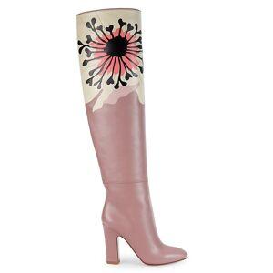 Valentino Garavani Women's Floral Graphic Leather Tall Boots - Lipstick - Size 38 (8)  Lipstick  female  size:38 (8)