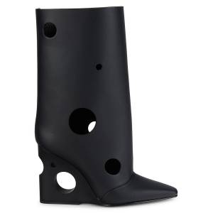 Off-White Women's Meteor Shower Leather Wedge Boots - Black - Size 37 (7)  Black  female  size:37 (7)
