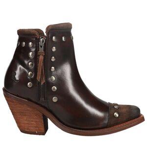 Reba Nashville Russett Zippered Booties  - Brown - Women - Size: 5.5 B