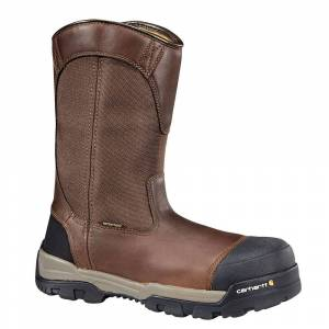 """Carhartt CME1355 10"""" Comp Toe WP Pull-On Men's Brown Boot 8 W"""