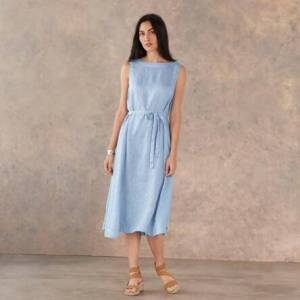 Cp Shades Inc Women's Madalena Linen Dress by Sundance in Fog Medium  - Fog - female - Size: Medium