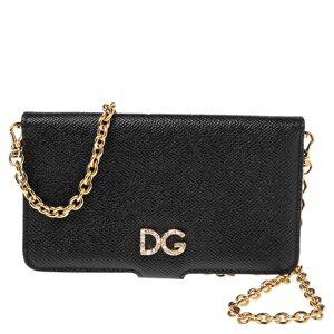 Dolce & Gabbana Black Leather iPhone X Chain Case
