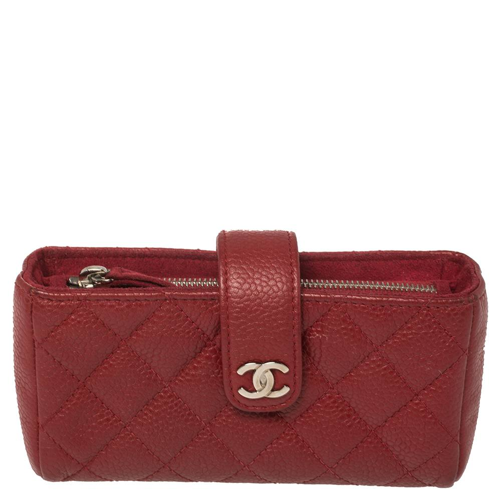 Chanel Red Quilted Caviar Leather CC Phone Pouch