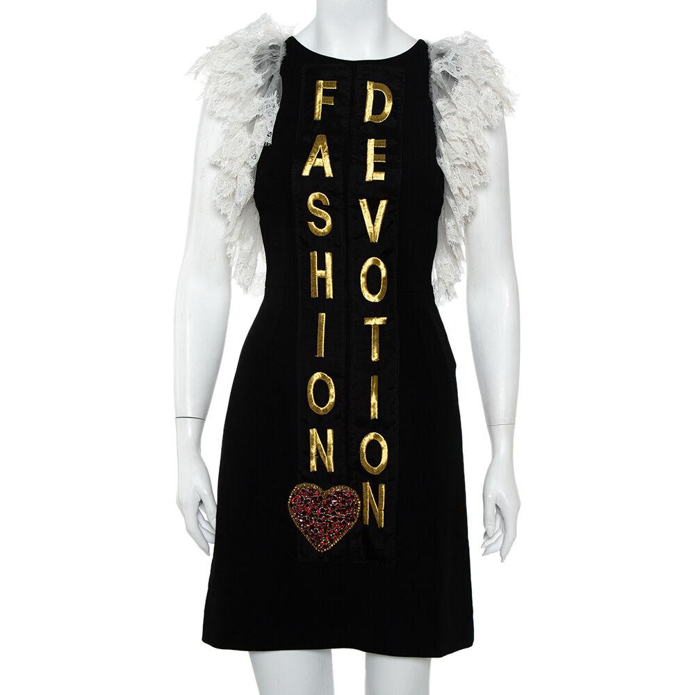 Dolce & Gabbana Black Crepe Lace Detail Fashion Devotion Dress XS