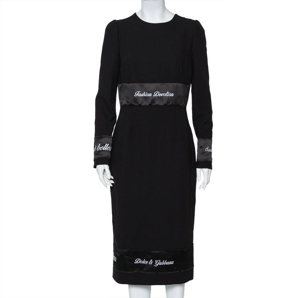 Dolce & Gabbana Black Wool Fashion Devotion Embroidered Midi Dress M