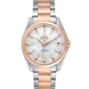 Omega Silver Diamonds 18K Rose Gold And Stainless Steel Aqua Terra 231.20.39.21.55.001 Men's Wristwatch 38.5 MM