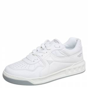 Valentino White Leather One Stud Low Top Sneakes Size 43