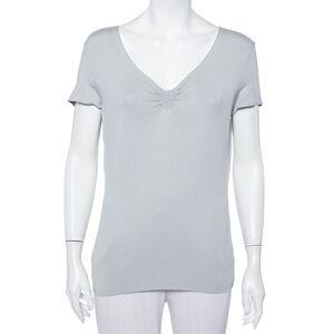 Armani Collezioni Grey Knit Ruched Neck Detail T-Shirt XL