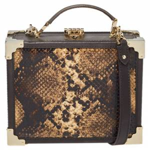 Aspinal of London Brown Leather and Python Effect Trunk Top Handle Bag