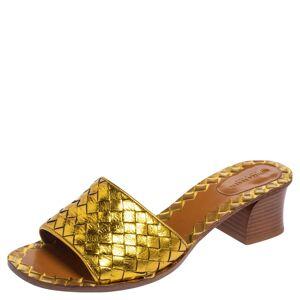 Bottega Veneta Gold Intrecciato Leather Ravello Slide Sandals Size 40