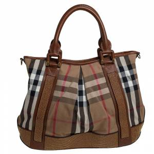 Burberry Beige/Tan House Check Canvas and Leather Studded Tote
