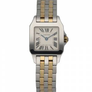 Cartier Silver 18K Yellow Gold And Stainless Steel Santos Demoiselle 2698 Women's Wristwatch 20 MM