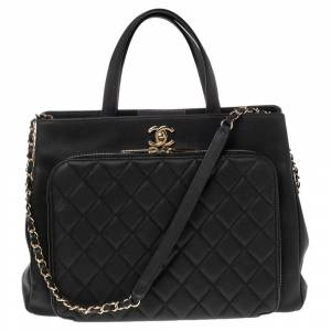 Chanel Black Quilted Caviar Leather Large Business Affinity Shopper Tote