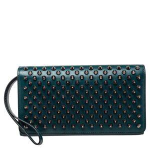 Christian Louboutin Green Leather Paloma Spike Wristlet Clutch