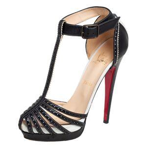 Christian Louboutin Black Leather Strappy Ankle Wrap Platform Sandals Size 38
