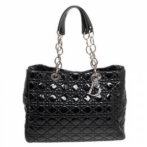 Christian Dior Black Patent Leather Large Lady Dior Tote