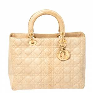 Christian Dior Beige Python Large Limited Edition Lady Dior Tote