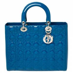 Christian Dior Persian Blue Cannage Patent Leather Large Lady Dior Tote