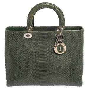 Christian Dior Green Python Large Lady Dior Tote