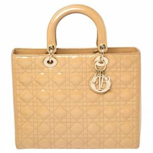 Christian Dior Beige Cannage Patent Leather Large Lady Dior Tote