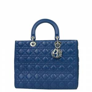 Christian Dior Blue Leather Large Lady Dior Tote Bag