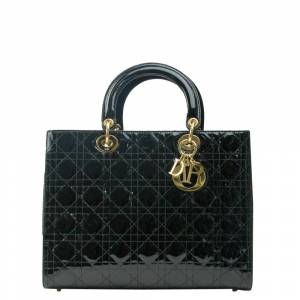 Christian Dior Black Patent Leather Large Lady Dior Tote Bag