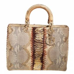 Christian Dior Beige/Gold Python Large Lady Dior Tote