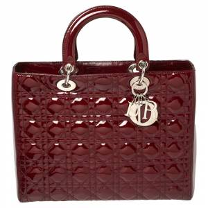 Christian Dior Maroon Cannage Patent Leather Large Lady Dior Tote
