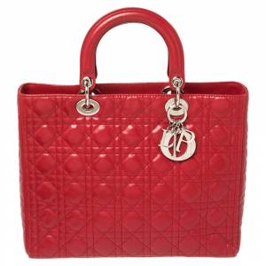 Christian Dior Red Cannage Leather Large Lady Dior Tote