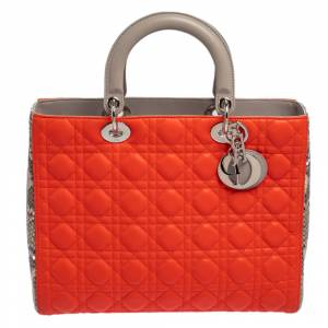 Christian Dior Orange/Grey Leather and Python Large Lady Dior Tote