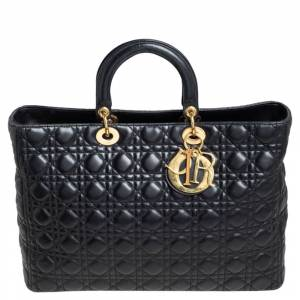 Christian Dior Black Lambskin Leather Extra Large Lady Dior Tote