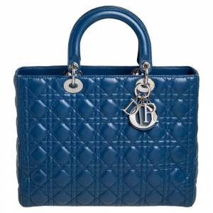 Christian Dior Blue Cannage Leather Large Lady Dior Tote
